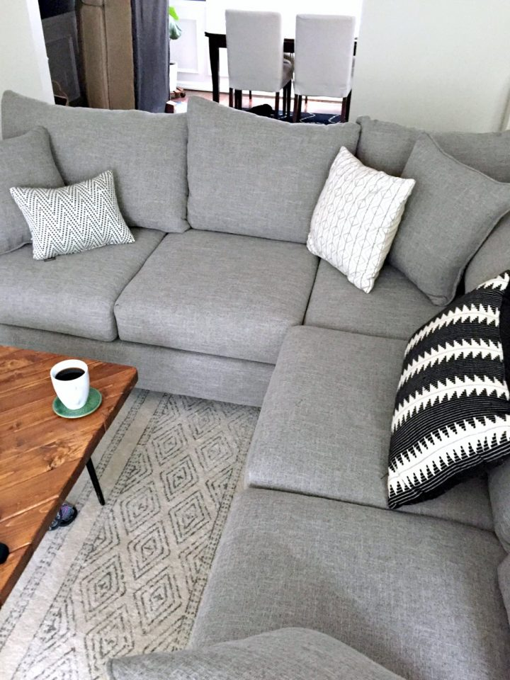new medium gray sectional - living room