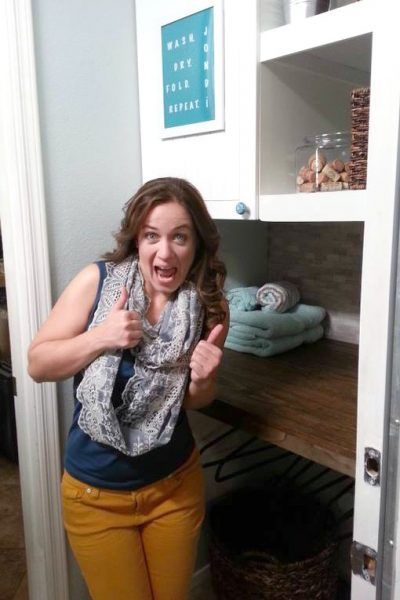 thumbs up laundry room makeover with sheknows