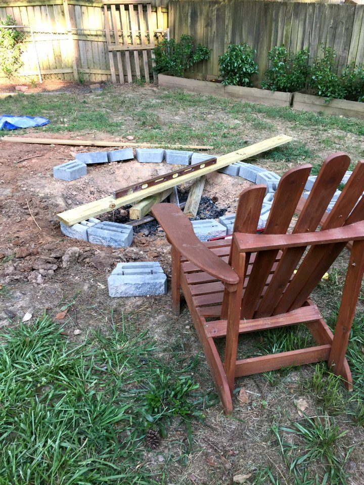 creating a ring of stones for fire pit