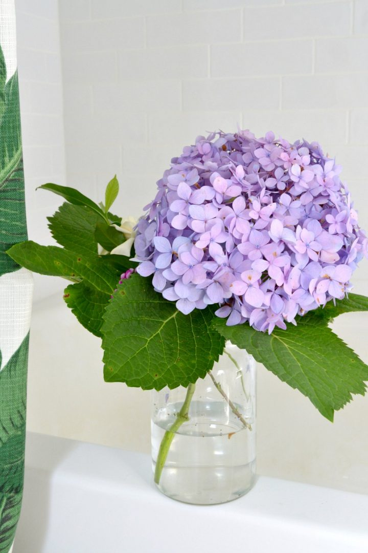 first hydrangea bouquet in bathroom
