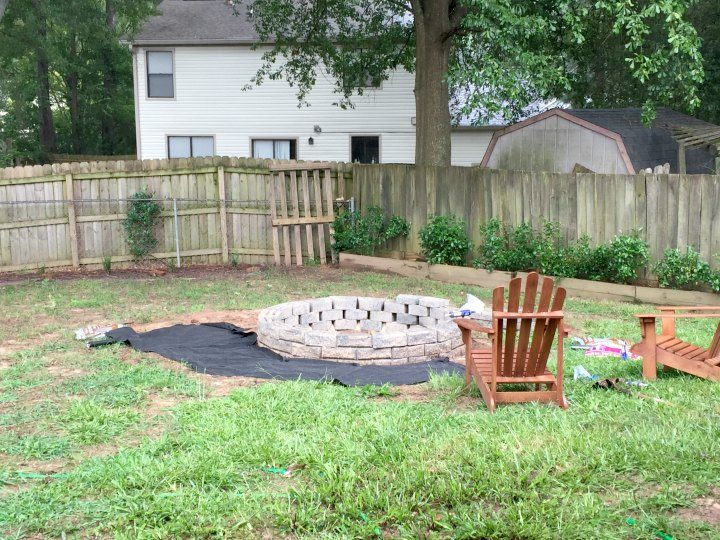halfway through the large fire pit build