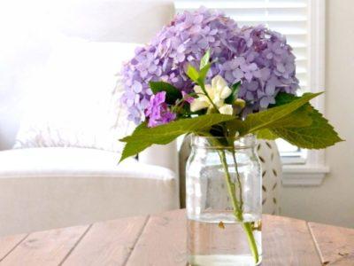 hydrangea bouquet in living room