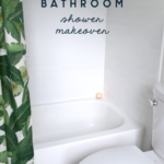 master bathroom white and green shower makeover