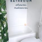 master bathroom white and green shower makeover