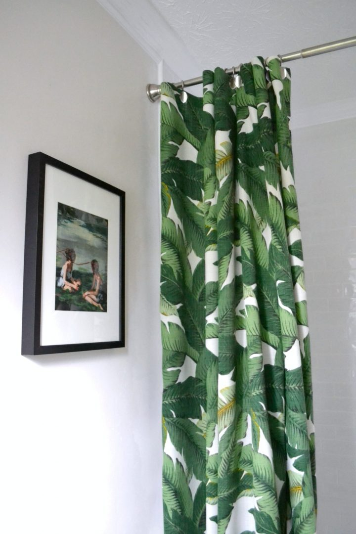 new DIY shower curtain palm print fabric