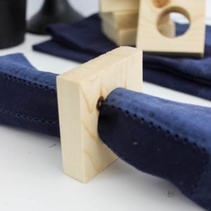 A great way to use those scrap wood pieces! You can make these modern square napkins rings in no time at all! Perfect for your next dinner party!