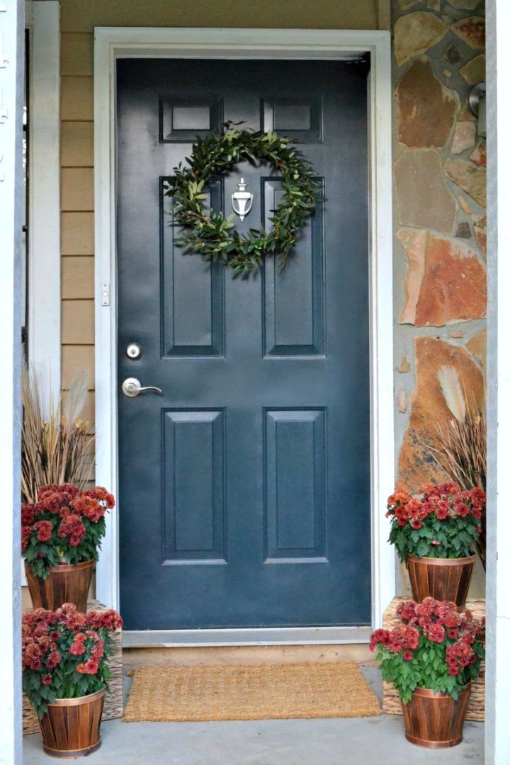 closeup of front door - fall home tour