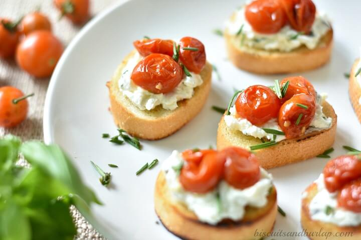 Herbed Goat Cheese Crostini with Roasted Cherry Tomatoes