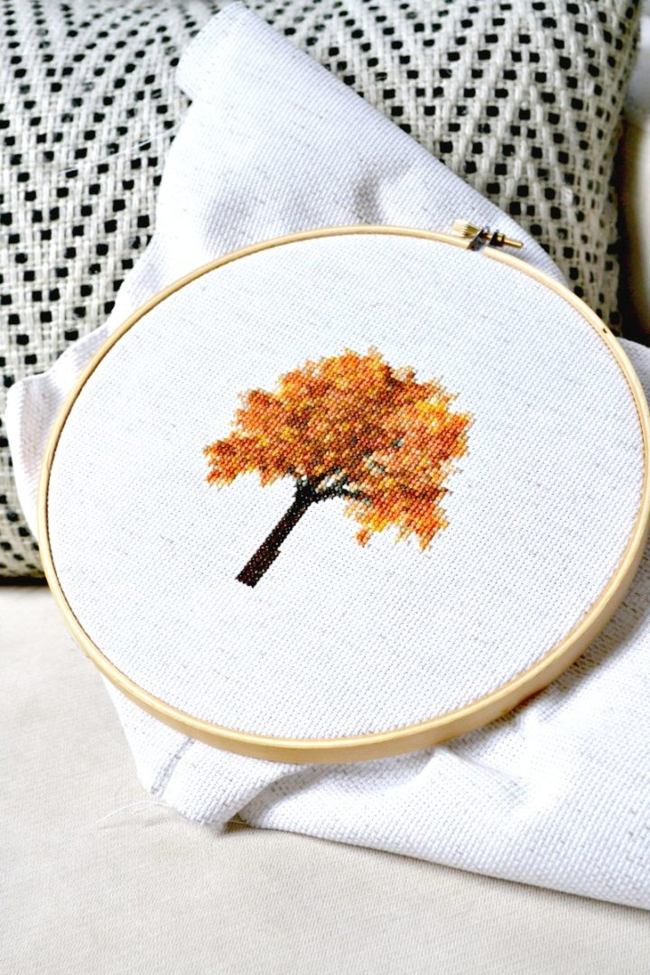 fall tree cross stitch