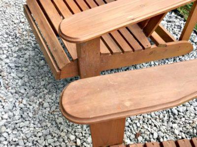 gravel and adirondack chairs