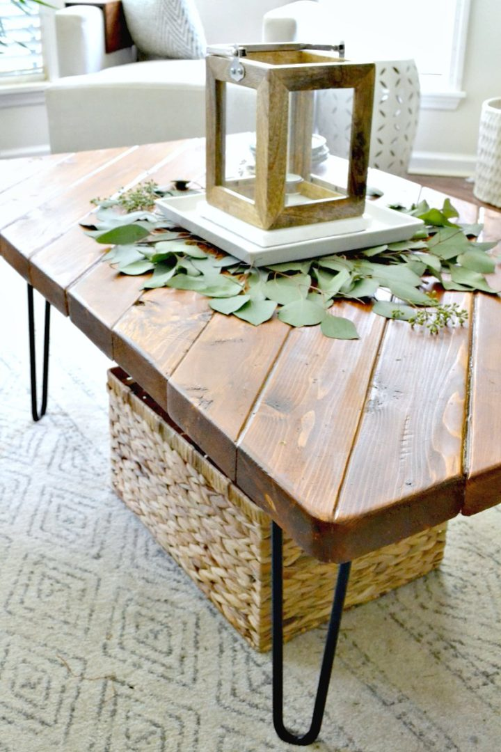 lantern and fall leaf decor on coffee table - fall home tour