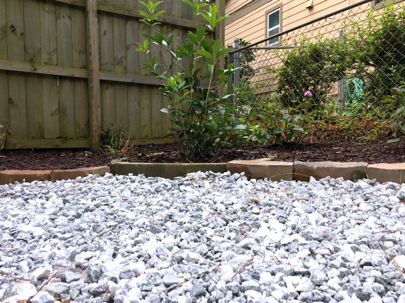 new gravel and corner garden