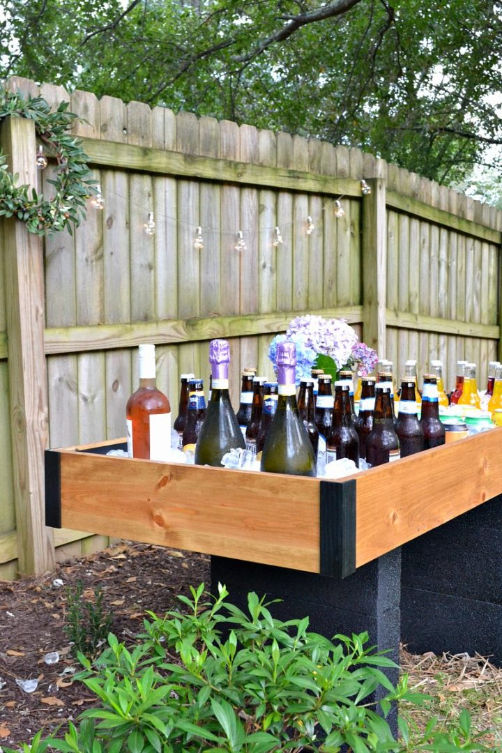 DIY outdoor party cooler drink station