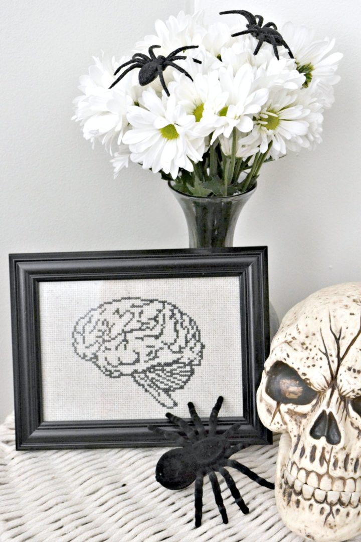anatomical brain cross stitch pattern - halloween decor