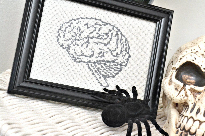 Anatomical Brain Cross Stitch Pattern