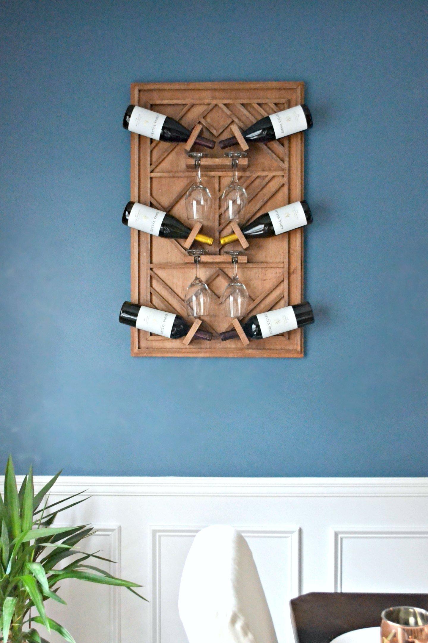diy wooden wine rack in dining room