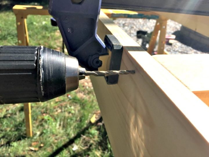 drill holes to create dowel placements