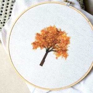 fall tree cross stitch - free pattern