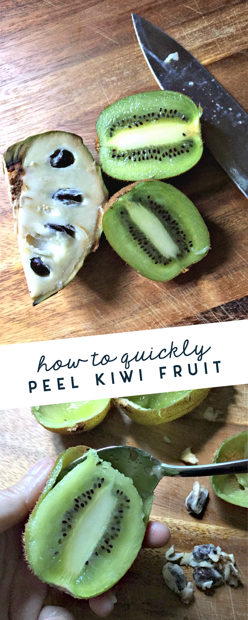 Genius! How to quickly peel kiwi fruit using this simple technique. Plus some new ideas for how and where to use this delicious green fruit.
