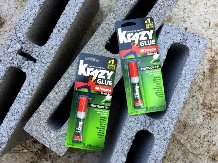 krazy glue and cinder blocks