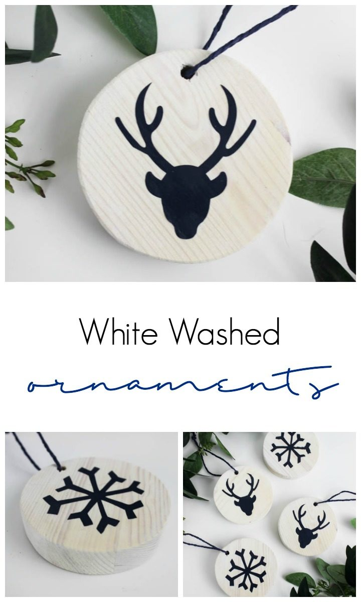 Love these easy white washed ornaments for the holiday season! Making a DIY ornament has never been easier and the white wood stain is perfect for the Christmas tree!