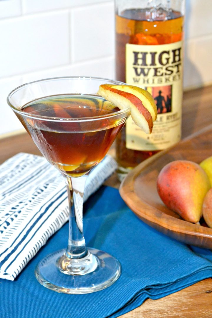 pear manhattan - high west whiskey - double rye - fall cocktail