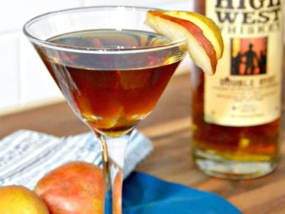 pear manhattan with high west double rye whiskey - fall cocktails - thanksgiving ideas