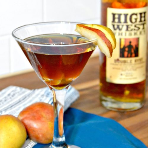 Spiced Pear Manhattan with Brown Sugar Simple Syrup