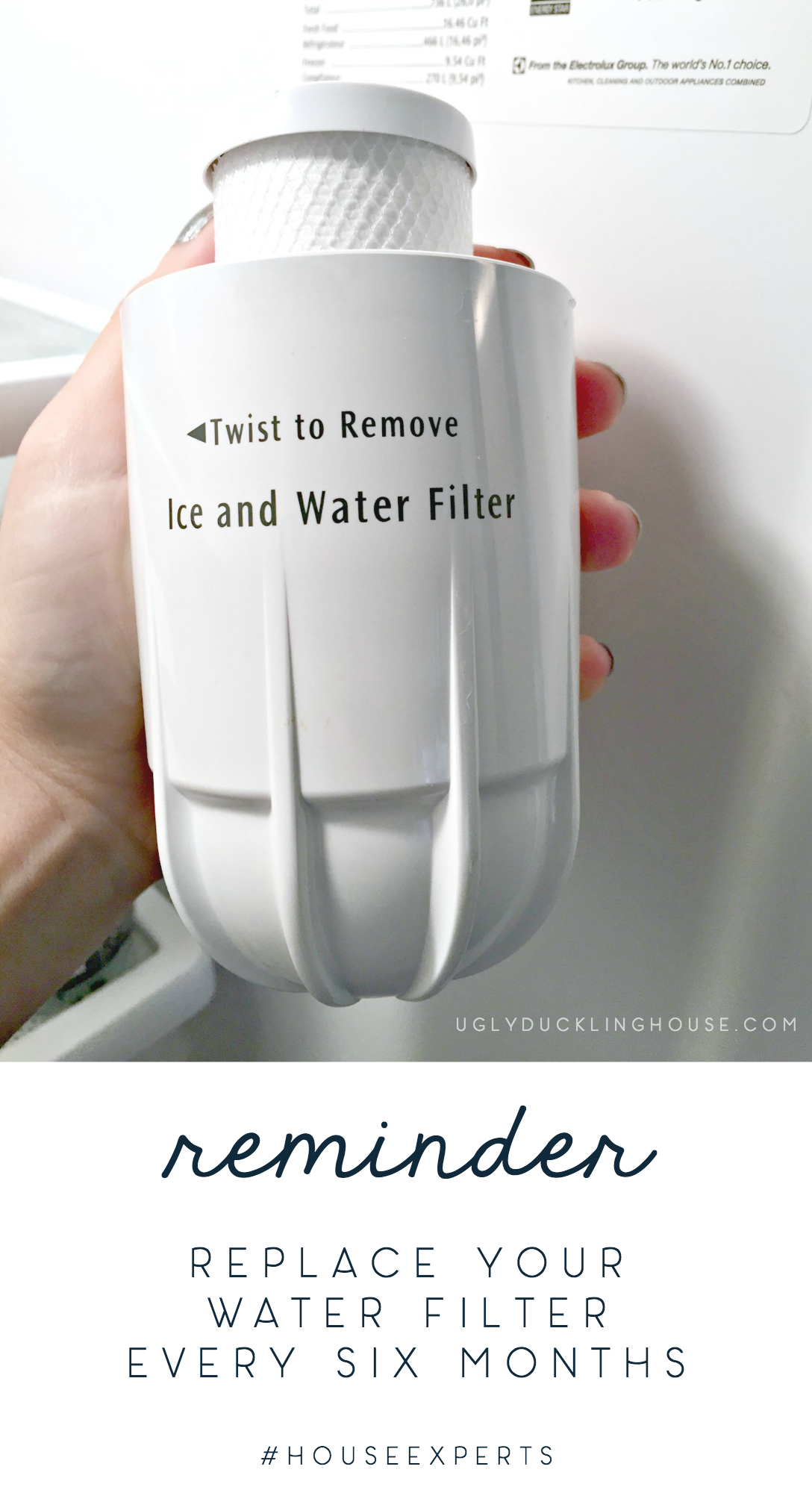 reminder replace water filter every six months