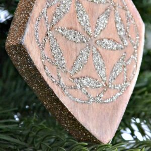 scrap wood inlay ornament with german glass glitter - 5 - ugly duckling house