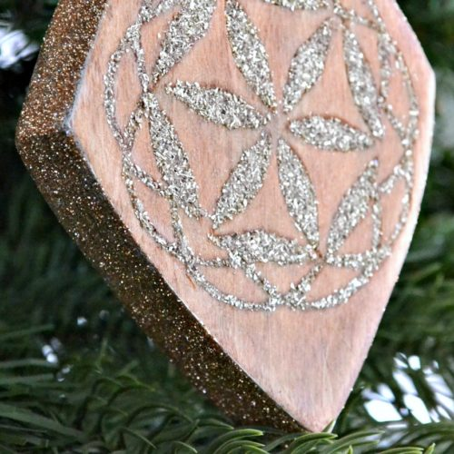 Wood Inlay Ornament with German Glass Glitter