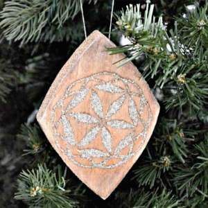 scrap wood ornament with glitter inlay