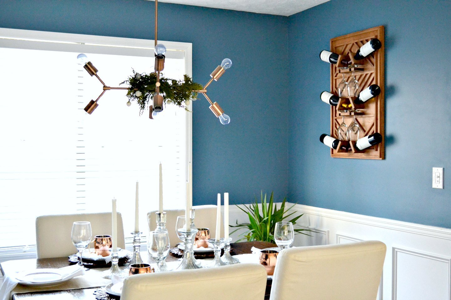 Christmas dining room decor with copper mugs
