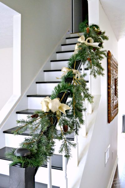 Christmas staircase gold and green