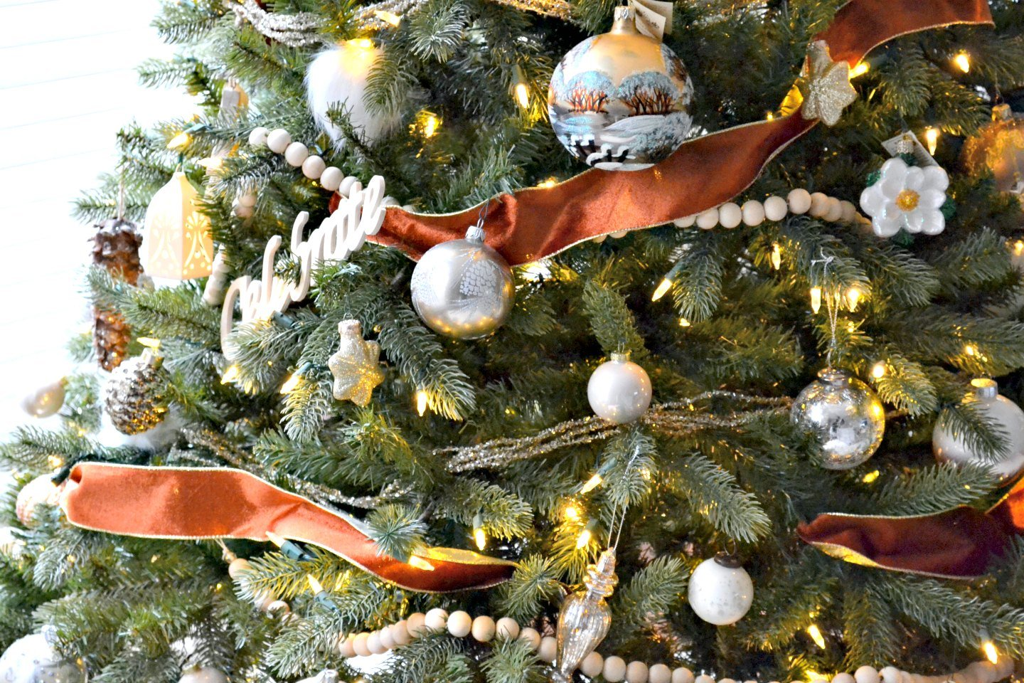 Christmas tree with copper velvet ribbon