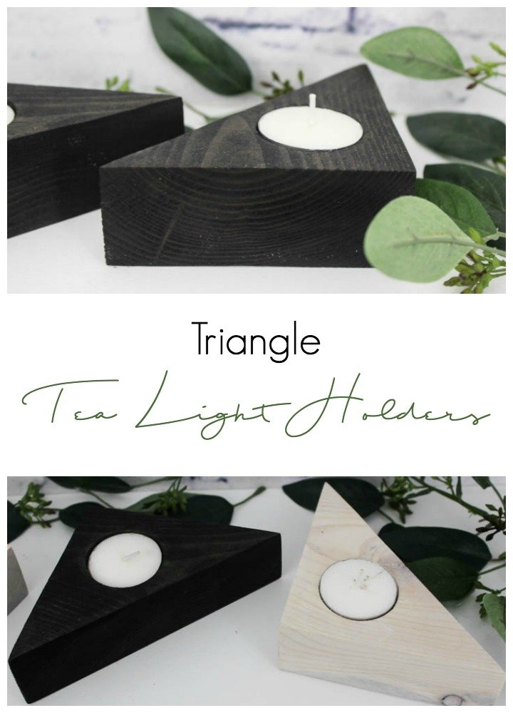 Make these unique triangle tea light holders for your home using scrap wood and a few tools. They would look beautiful in any room in the home! #diy #candleholders #scrapwood #woodcrafts #diyprojects