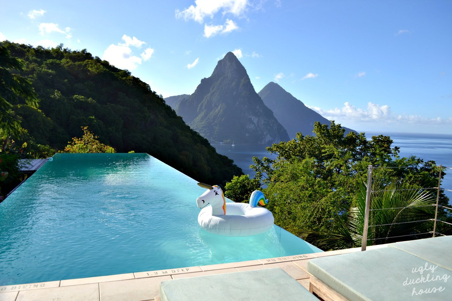 View in St Lucia - with unicorn float - ugly duckling house