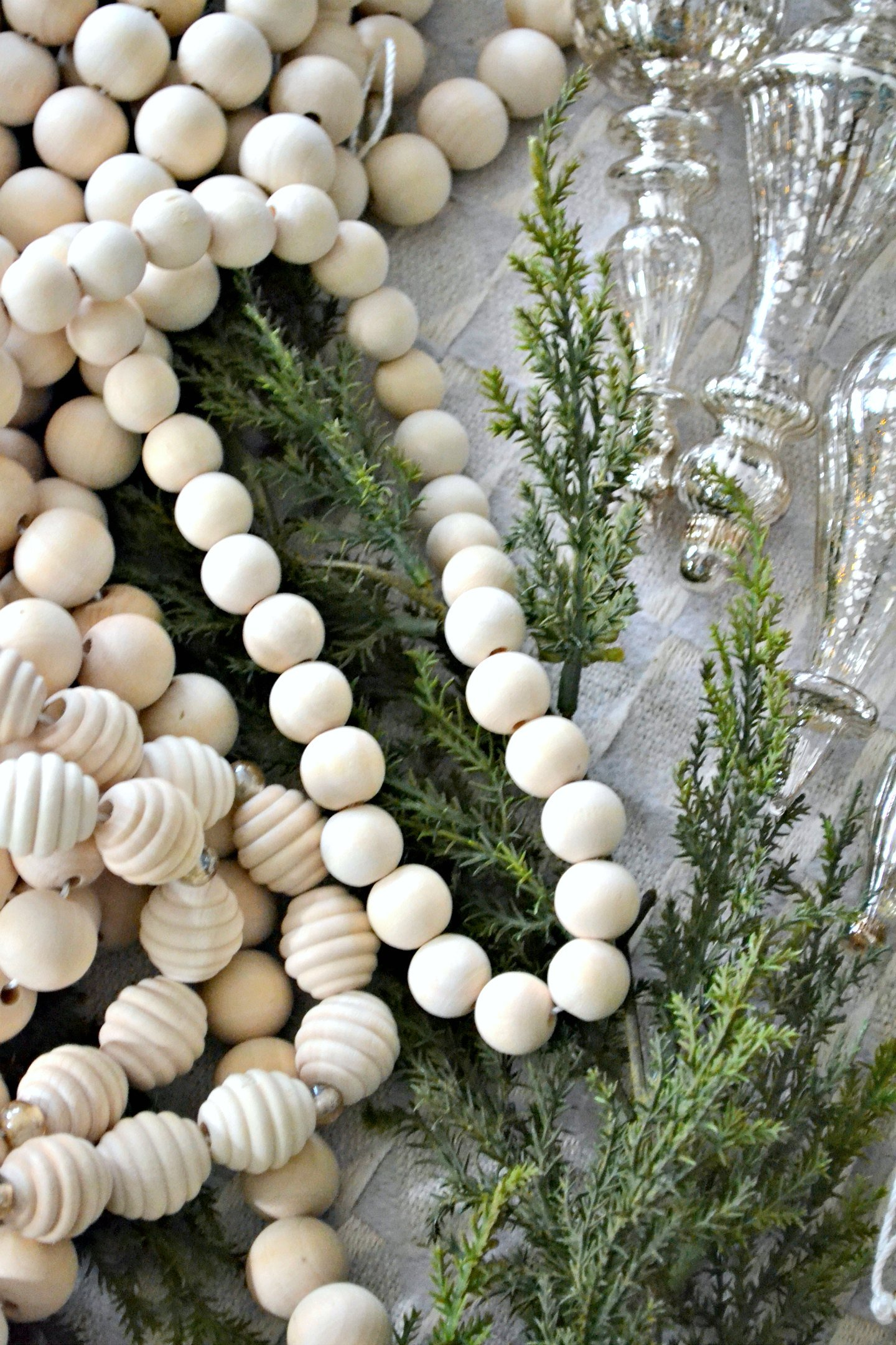 diy wood bead garland 3 ways different sizes