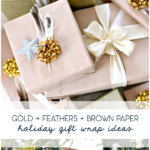 gold + feathers + brown paper holiday gift wrap ideas