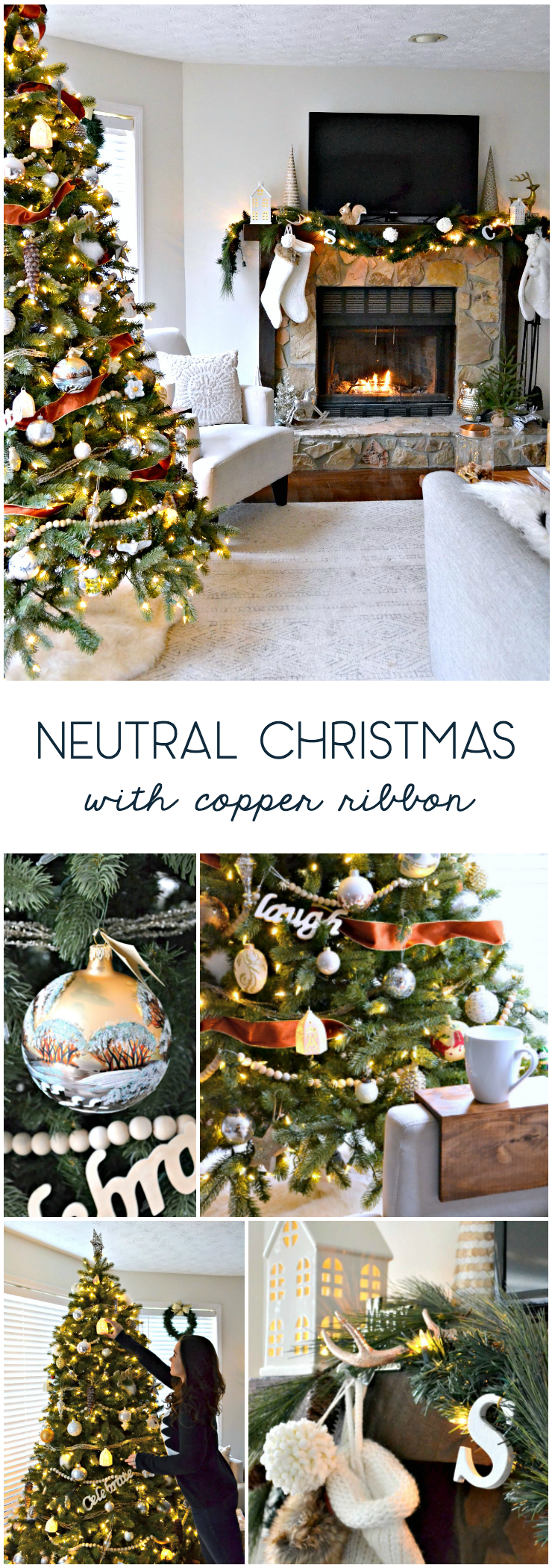 neutral christmas decor holiday home tour - living room - tree with velvet ribbon