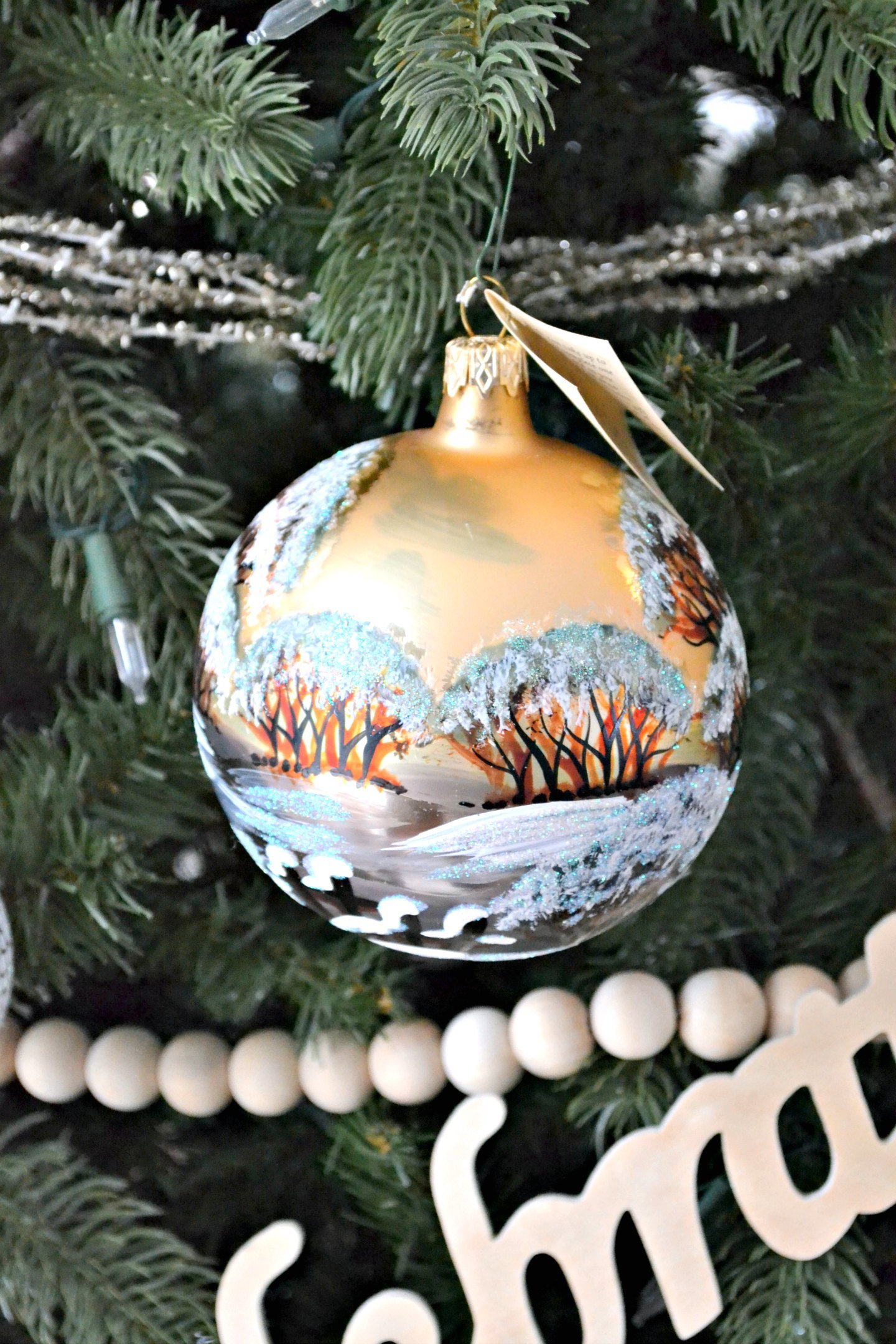 woodland ornament gold sky