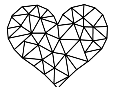 geometric heart black