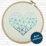 ombre geometric heart cross stitch pattern