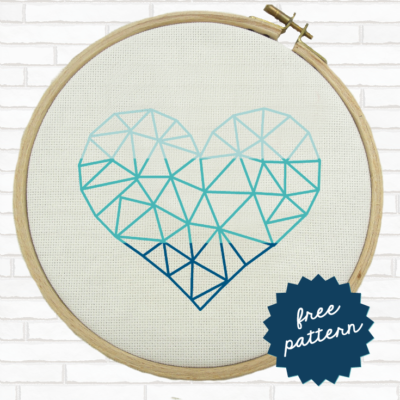 Ombré Geometric Heart Cross Stitch (Free Pattern)