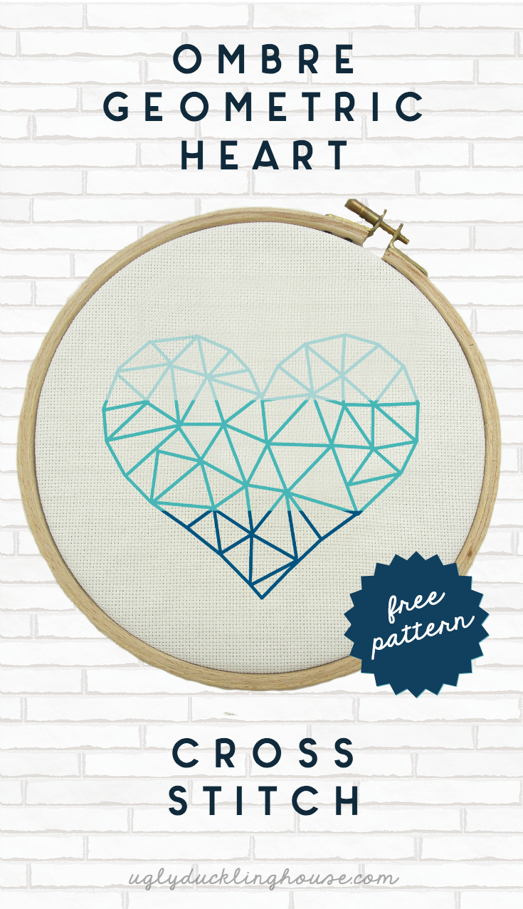 ombre geometric heart cross stitch pattern