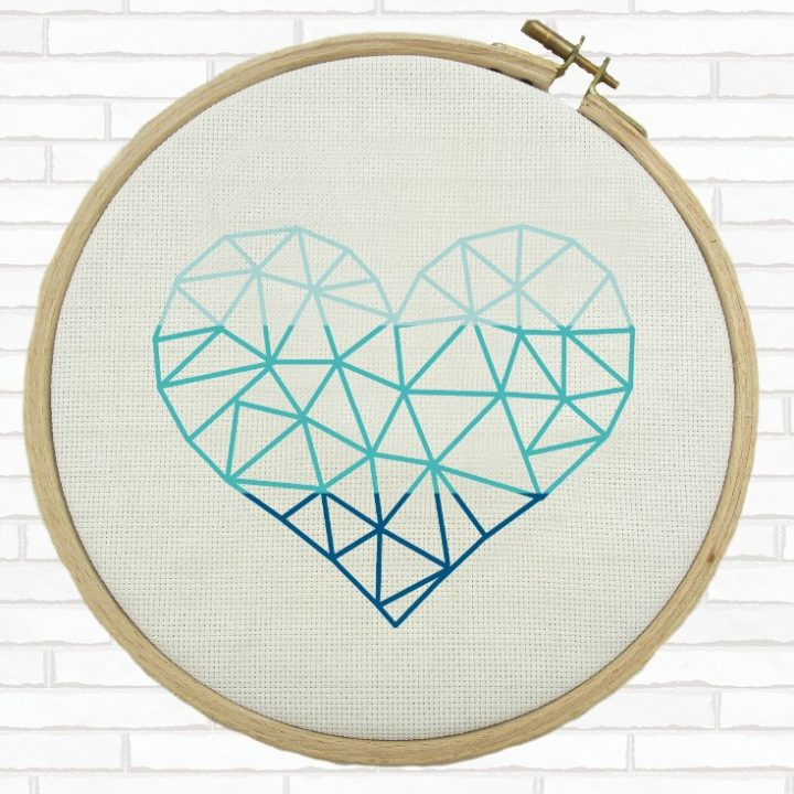 ombre tri-color heart cross stitch pattern