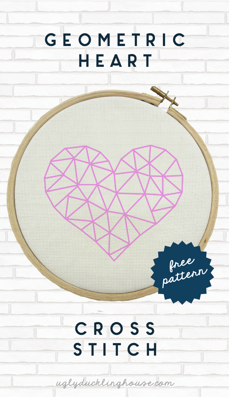 pink geometric heart cross stitch pattern