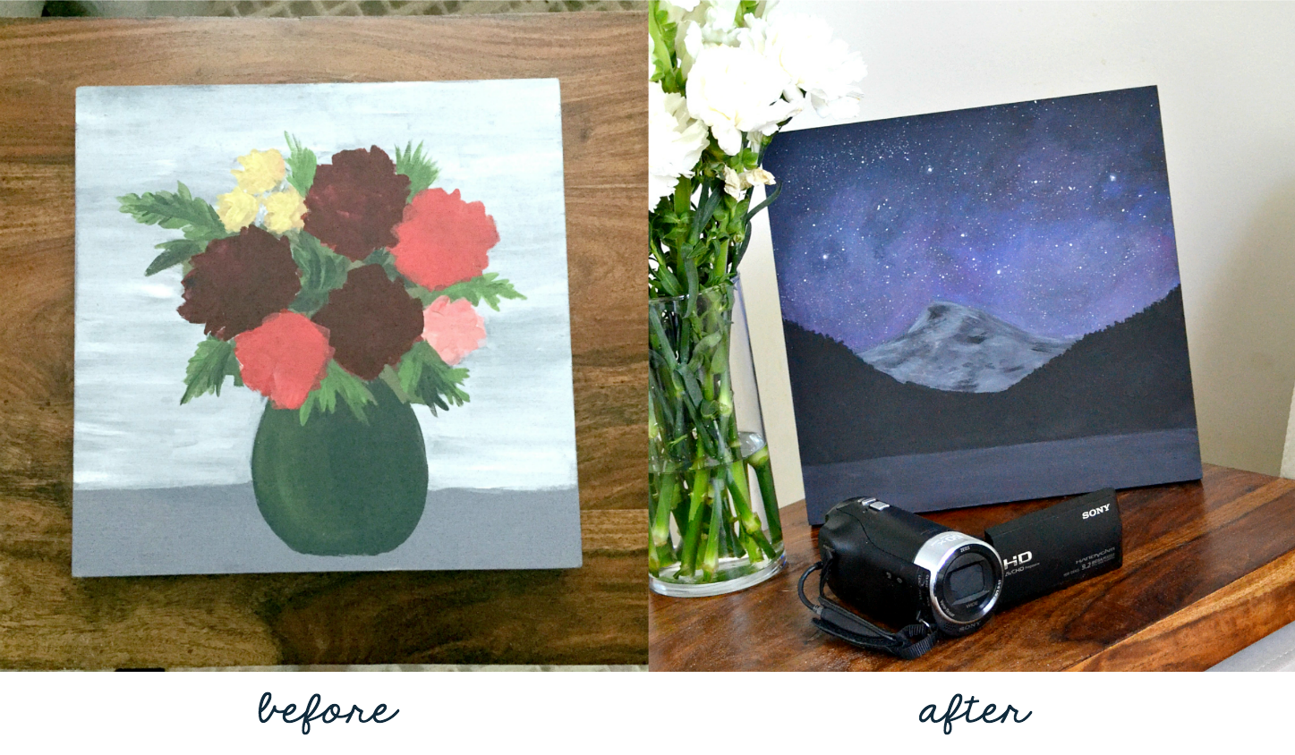 before and after - mountain sky painting - how to paint over old canvas