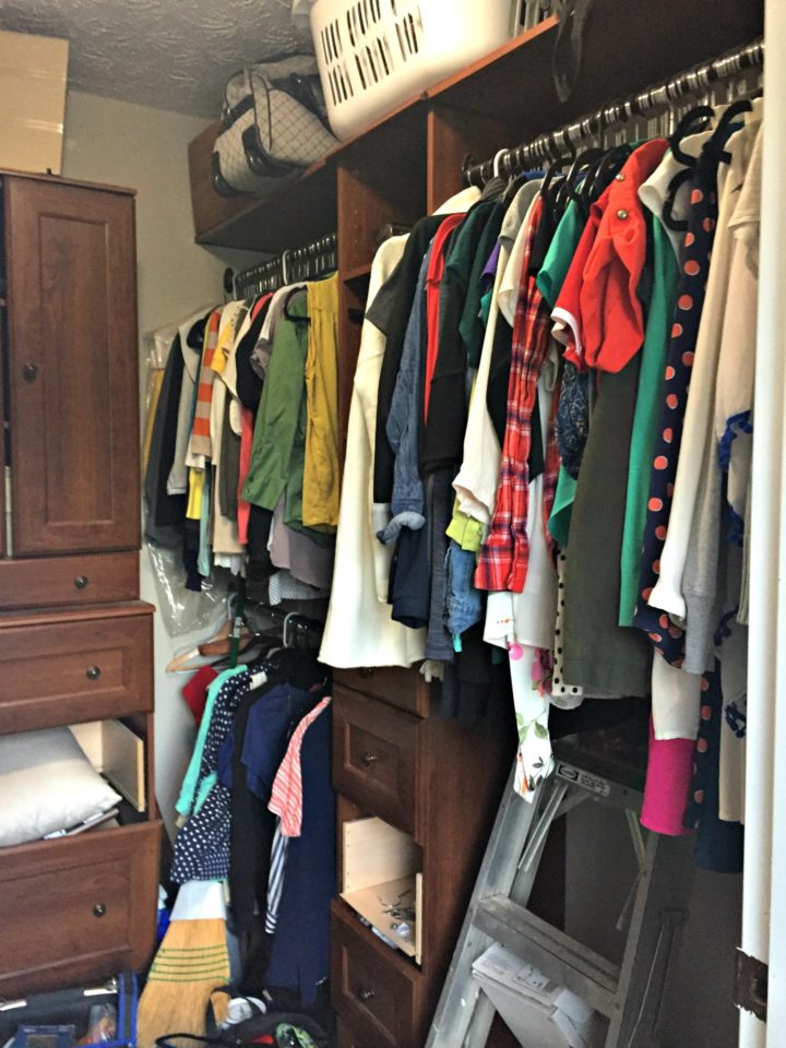 disorganized and broken down closet