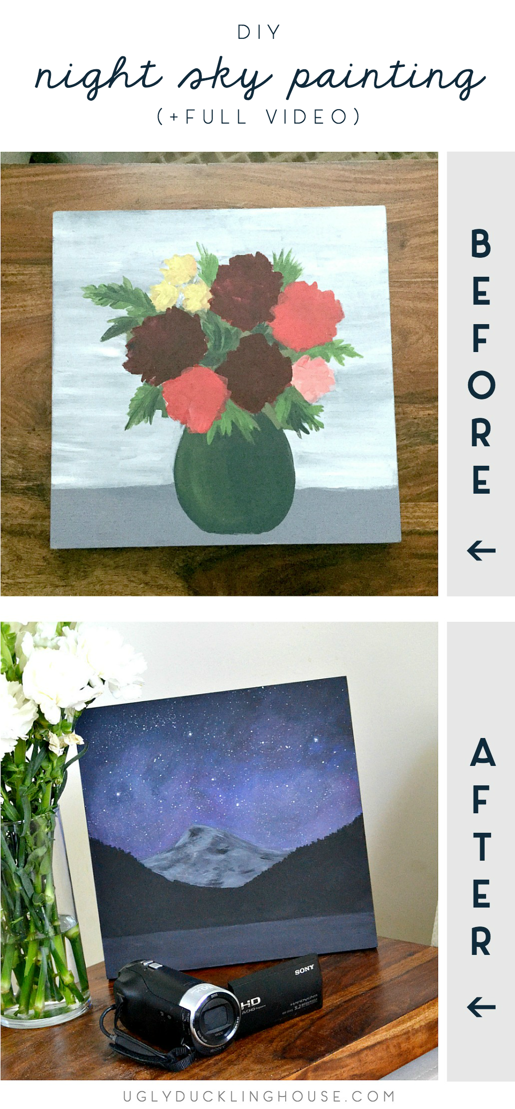 diy night sky mountain painting - before and after - full video